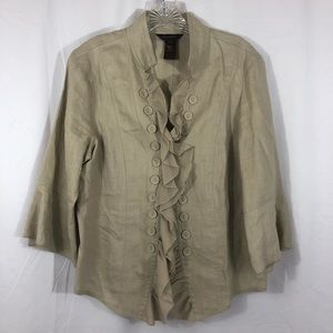 100% Linen Military Style Ruffles Jacket Large